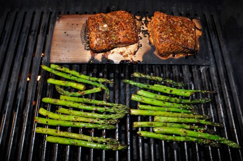 Firecracker Salmon and asparagus.
